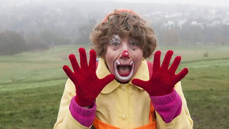 Caroline Ainslie as her alter-ego, Bubbles The Mathematical Clown, in training to climb Mount Kilima
