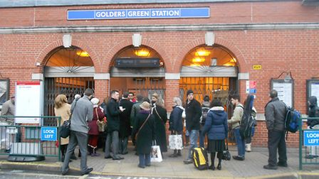 Commuters gather outside Golders Green Tube station last week after its closure.