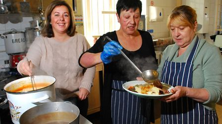 50p Thursday's at Highgate Newtown Community Centre: Piictured (from left) volunteers Yvonne Monagha
