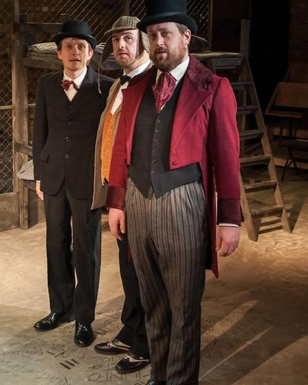 Iain Ridley as Passepartout, Simon Snashall as Fix of the Yard, Matt Odell as Phileas Fogg.