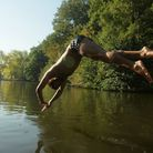 Swimmer takes the plunge at the Mixed Pond