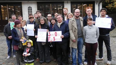 Campaigners outside Belsize fire station