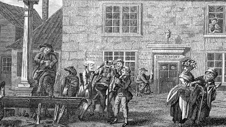 The Swearing of the Horns in Highgate, circa 1770. The custom was nvented in the 18th century by loc