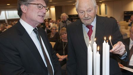 AJR Holocaust Memorial day at Belsize Square Synagogue. Rabbi Stuart Altshuler pictured with Survivo
