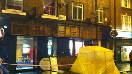A man in his 20s has died after a shop sign fell from a building and hit him in Camden Town. Picture