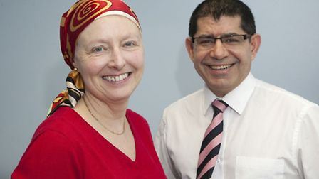 Patient Kathryn Oatey, pictured with consultant oncological surgeon Mo Keshtgar, was the first patie