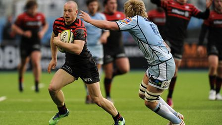 Saracens' James Short (left) gets away from Cardiff Blues' Luke Hamilton during the LV=Cup match at