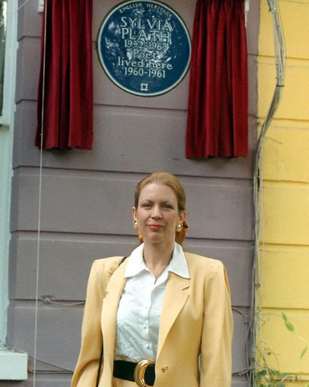 Frieda Hughes unveils a blue plaque in memory of her mother, Sylvia Plath, in Chalcot Square, Primro