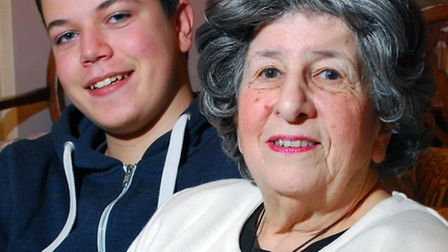 Zack Solomon with his grandmother Lilian Levy. Picture: Polly Hancock.