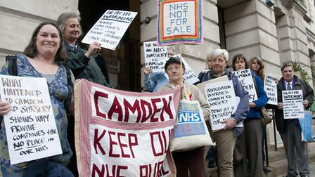 Camden Keep Our NHS Public campaigners at a protest last year. Pictures: Nigel Sutton