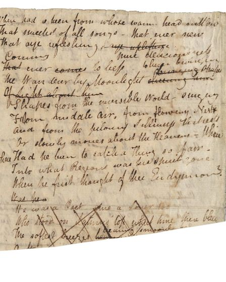 Extract from the manuscript of John Keats's poem I Stood Tiptoe Upon A Little Hill