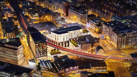 An aerial view of what Shoreditch could look like in 2015 if planning approval to develop the area i