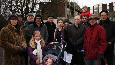 Demonstrators gather together to save St Mary's Lodge, in Lordship Road, Stoke Newignton, from demol