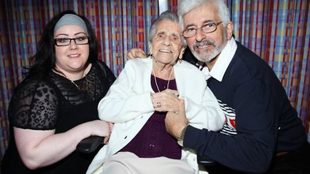 Hackney resident Winifred Gladys Rowell celebrates her 104th birthday accompanied by her granddaught