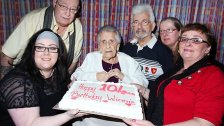 Hackney resident Winifred Gladys Rowell celebrates her 104th birthday accompanied by her close famil