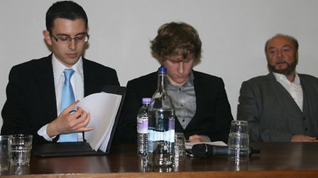 Eylon Aslan-Levy, Michael Baldwin and MP George Galloway at Oxford debate
