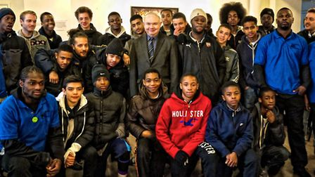 Cllr Michael Desmond is pictured with young people who took part in the Our Endzz project which is t