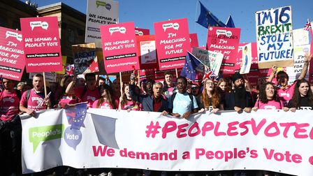 Mayor of London Sadiq Khan (centre) takes part in the People's Vote rally. Photo: Yui Mok/PA Wire