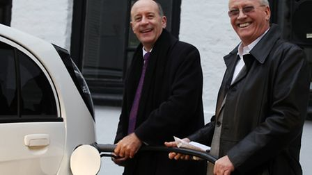 Mayor of Hackney Jules Pipe, left, and Holborn Studios Director Vincent McCartney try the ABB Automa
