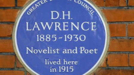 The D.H. Lawrence blue plaque at 1 Byron Villas in Vale of Health, Hampstead. Picture: Nigel Sutton