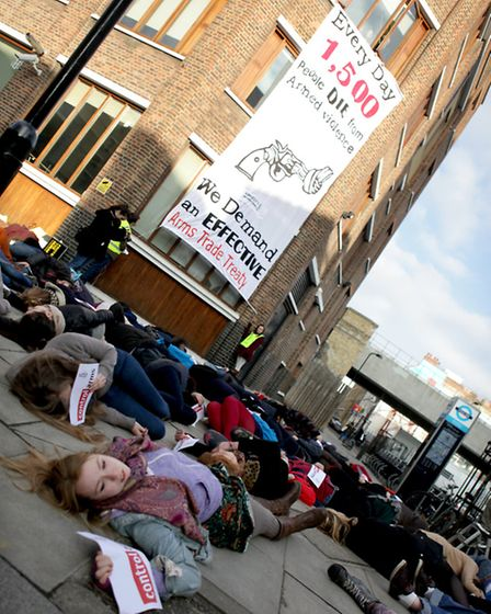 The protest against the Arms Trade. Photo credit Marie-Anne Ventoura