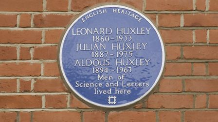 The plaque commemorating Aldous Huxley at 16 Bracknell Gardens in Hampstead. Picture: English Herita