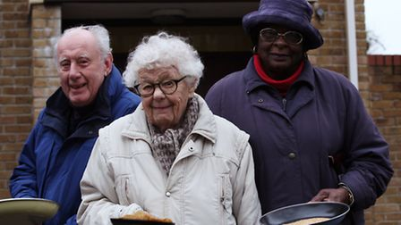 Friends of Prideaux House George Turner, left, 102-year-old Molly Carlton, and Margaret White