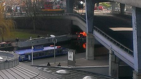 The barge alight beneath the Harrow Road flyover. Picture: Jonny Rose
