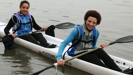 13-year old Maia Wallace-Loizou,left, together with Dylan Barber-May,15, are set to kayak across t