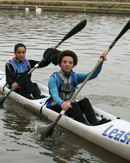 13-year old Maia Wallace-Loizou, left, together with Dylan Barber-May,15, are set to kayak across t