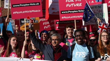 The mayor of London takes part in the People's Vote March. Photo: Yui Mok/PA Wire