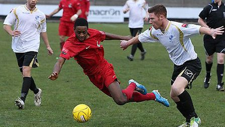 Marc Weatherstone (right) in action for Wingate. Pic: Martin Addison