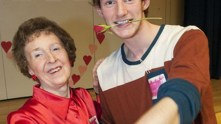 Johan Lamche-Brennan, 17, dances the tango with Yvonne Read at the Valentine's Tea Dance. Picture: N