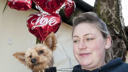 Pet dog Bigsy with Billie Coyle at the Valentine's Day dog walk in aid of charity All Dogs Matter. P