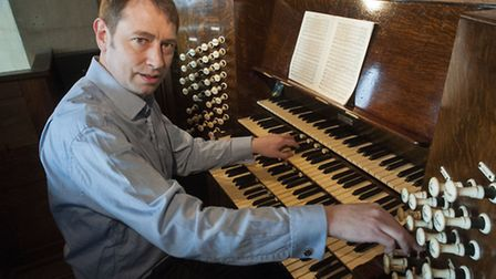All Hallows Organ restoration appeal,Martin Kemp playing the organ which is in need of restoration