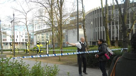 Police direct people away from the cordon set up around Swiss Cottage leisure centre due to a bomb s