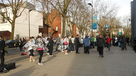 Crowds of gym-users were forced to wait outside Hampstead Theatre while Swiss Cottage leisure centre