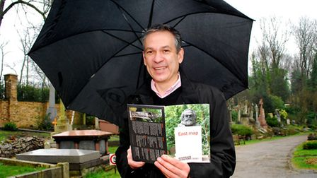 Dr Ian Dungavell, chief executive of Highgate Cemetery, with the new map. Picture: Polly Hancock