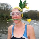 Dressed up for spring: Early morning swimmer Ruth Draper at Kenwood Ladies' Pond. Picture: Polly Han