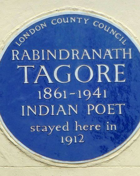 Blue plaque to Indian poet Rabindranath Tagore in The Vale of Health. Picture: Nigel Sutton