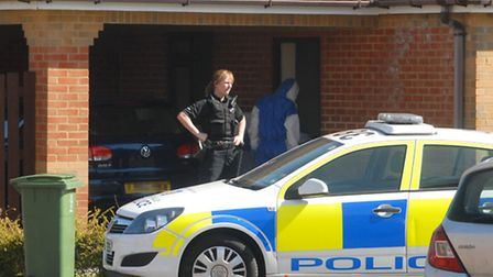 Police at the scene of the shooting in Aylesbury in March 2012. Picture: The Bucks Herald