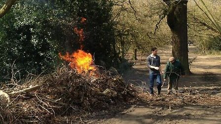 Two fire engines attended the fire in Hampstead Heath. Picture: Twitter/@MsDianaG