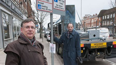 Andrew Dismore and Gary Shaw at the infamous loading bay in Market Place. Picture: Nigel Sutton.