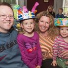 Winsbury Family at Keats House Easter Bonnet workshop. Pictured left to right, dad Jason, Lara, 7, M