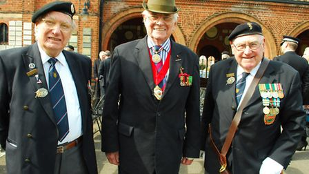 Local veterans Fred Harris, Major Paddy O'Brian, and Capt. Peter Messingham at the ceremony. Picture