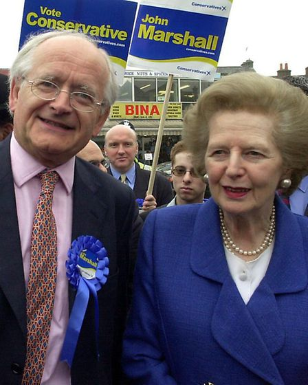 Baroness Thatcher campaigning with Cllr John Marshall in Golders Green ahead of the 2001 general ele