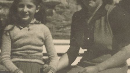Esther Graham as a child (left) with Yvonne Gustin (right)