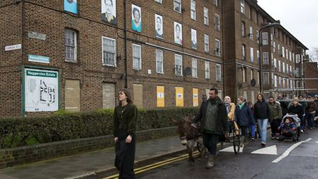 The mock funeral on the Haggerston Estate, photo credit Briony Campbell