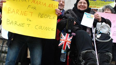 Maria Nash (centre) with supporters outside The Royal Courts of Justice. Picture: Polly Hancock.