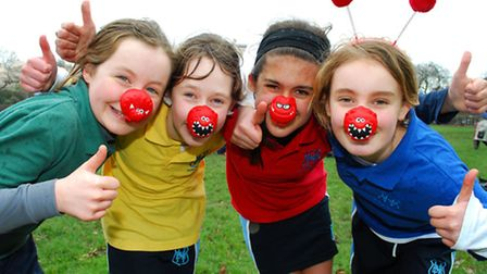 Pupils from North Bridge House Senior School take part in a Comic Relief run in Regent's Park. (From
